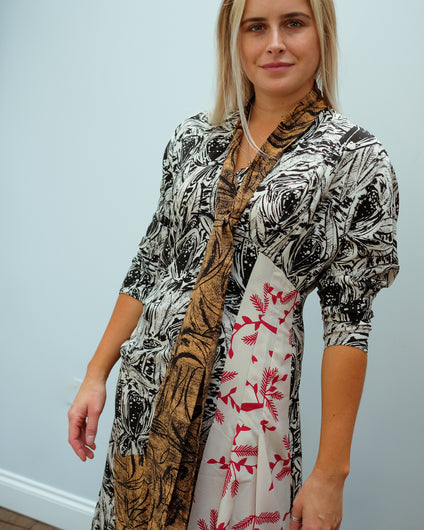 MM Rapallo printed dress in black and white