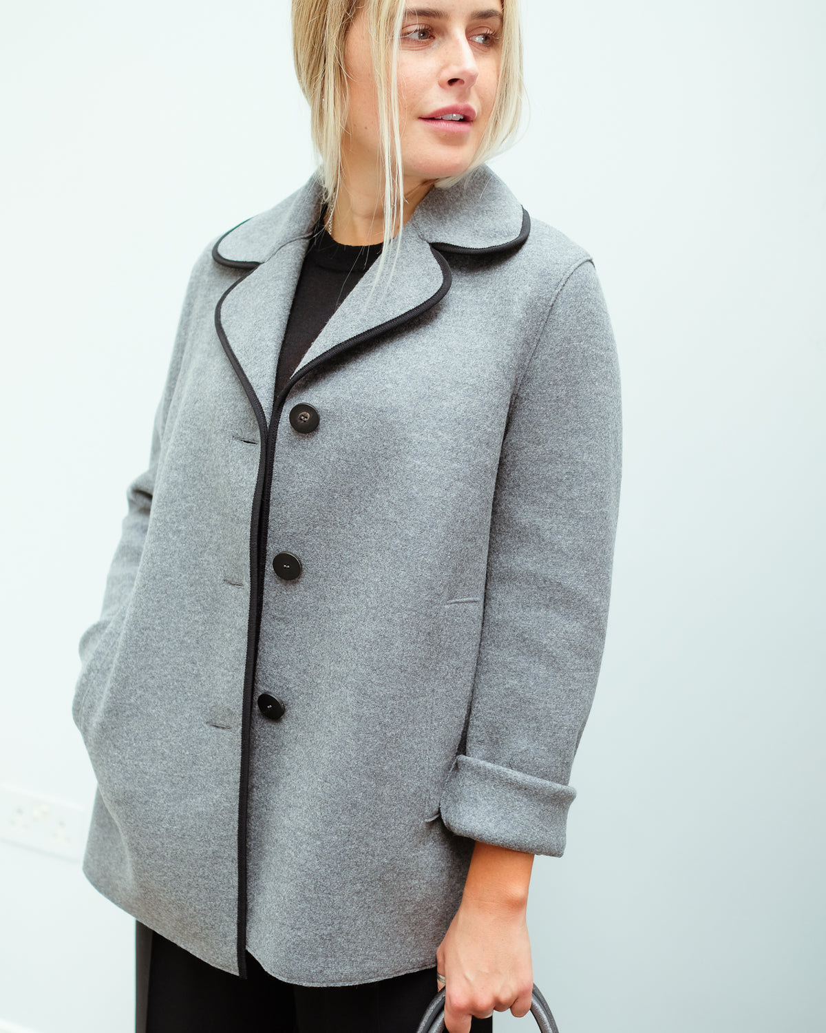HW Contrast Piped Jacket in Grey