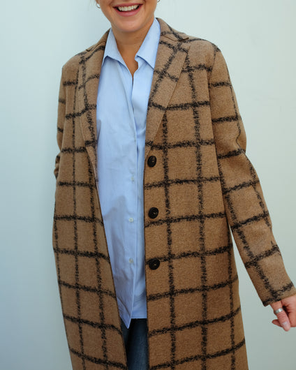 HW Overcoat in Windowpane Camel