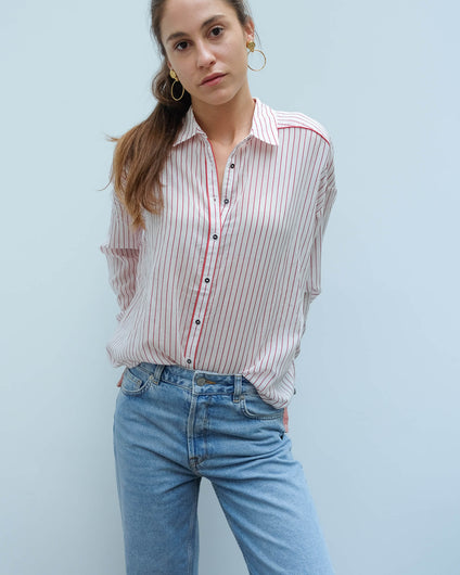 AB 150655 Boxy fit printed shirt in red pinstripe