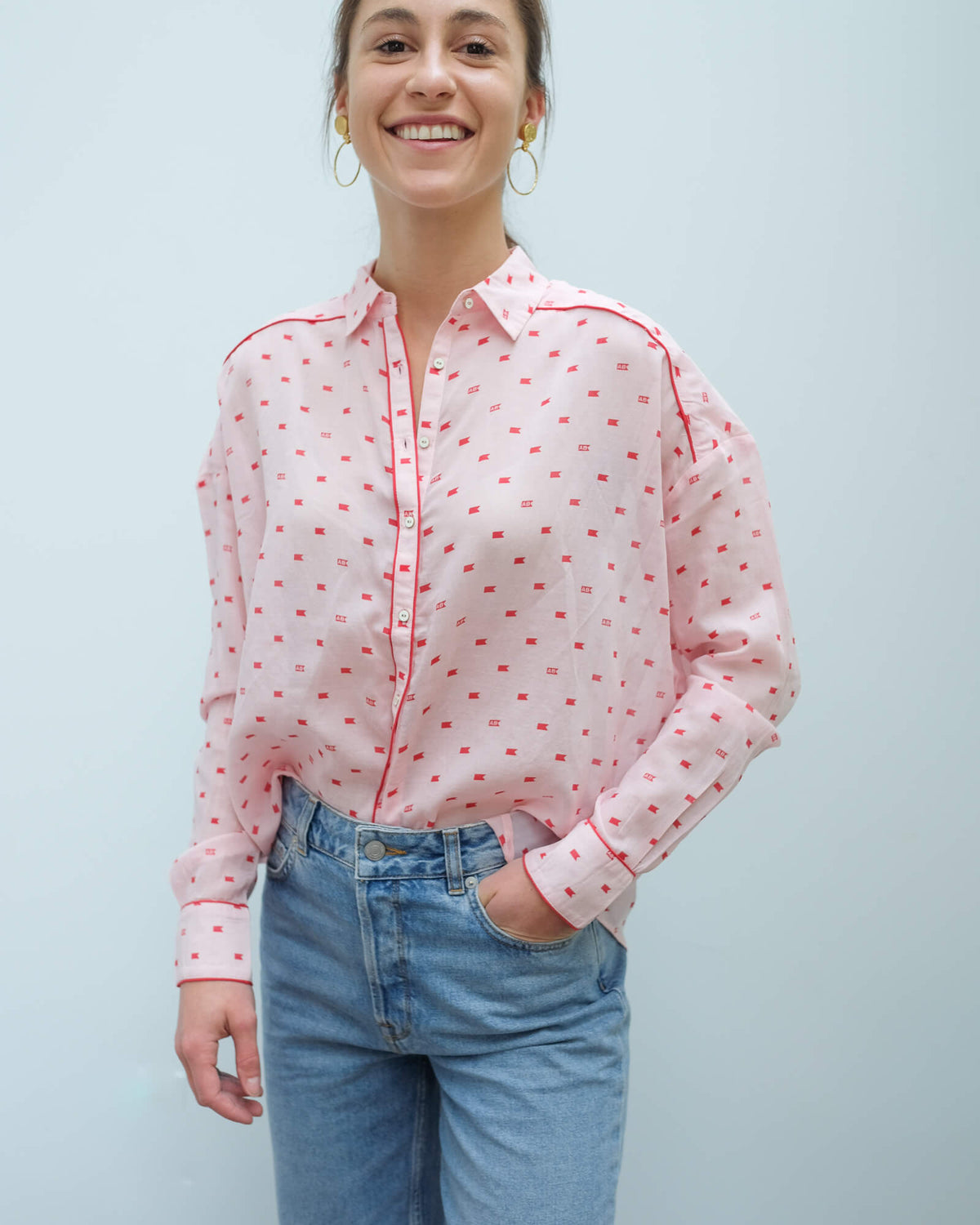 AB 150655 Boxy fit printed shirt in pink and red