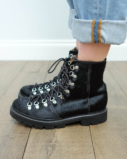 Grenson Nanette hair on hide boots in black