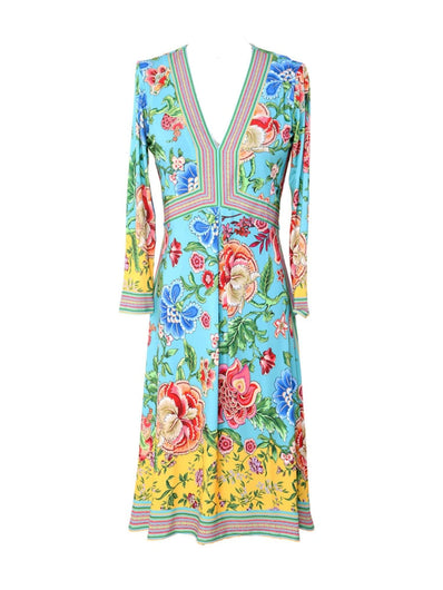 HB 6812 LS floral dress in turquoise