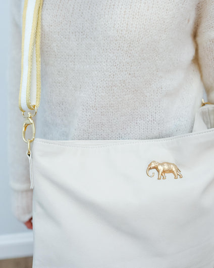 SLP Zaza bag in cow with elephant and white strap