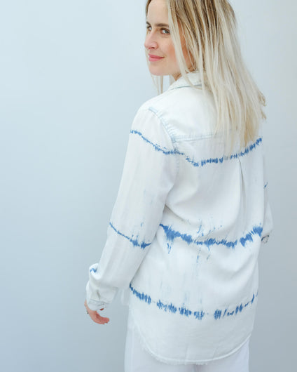 BD 2194 Frayed hem shirt in indigo white out