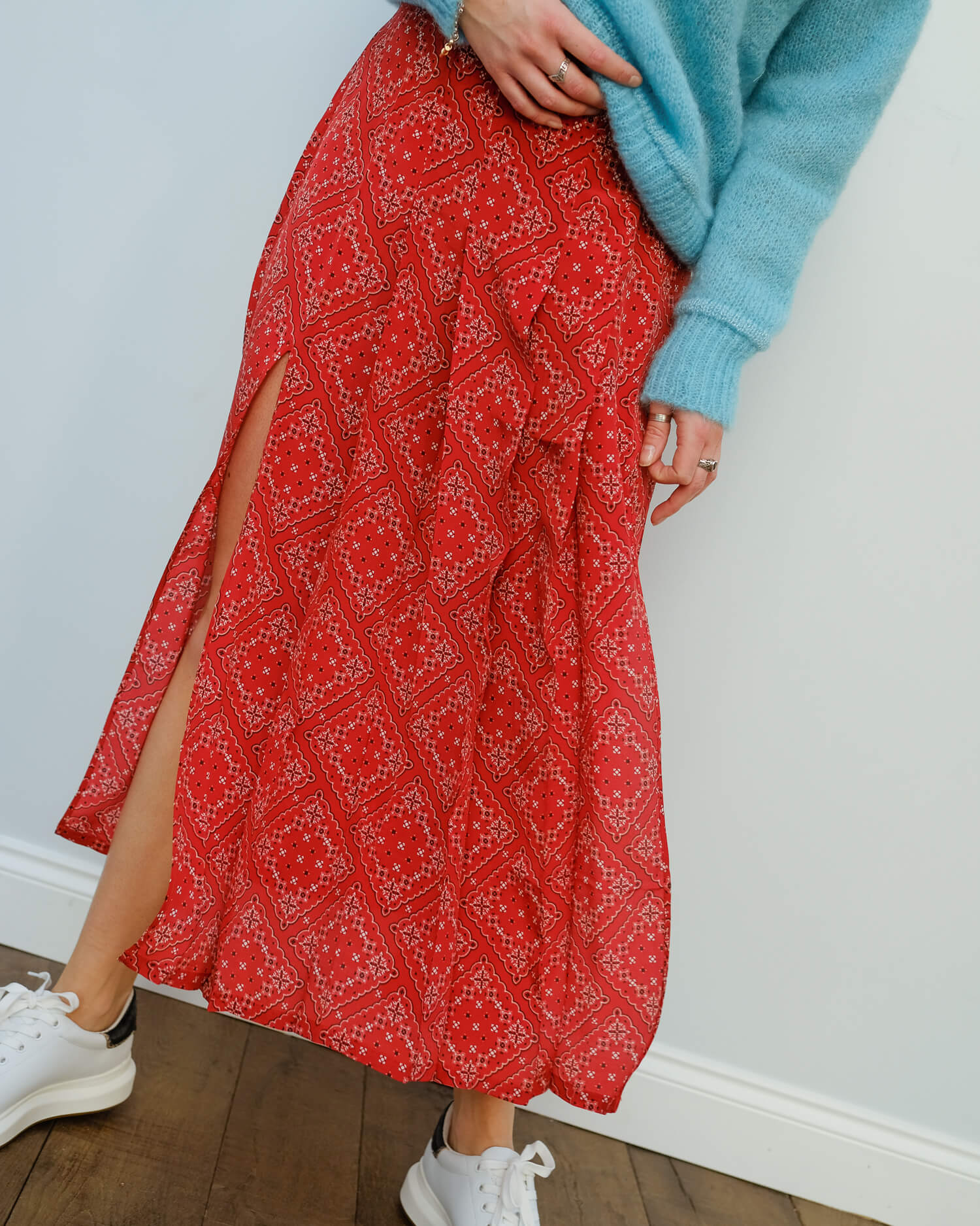 RIXO Georgia skirt in red square paisley