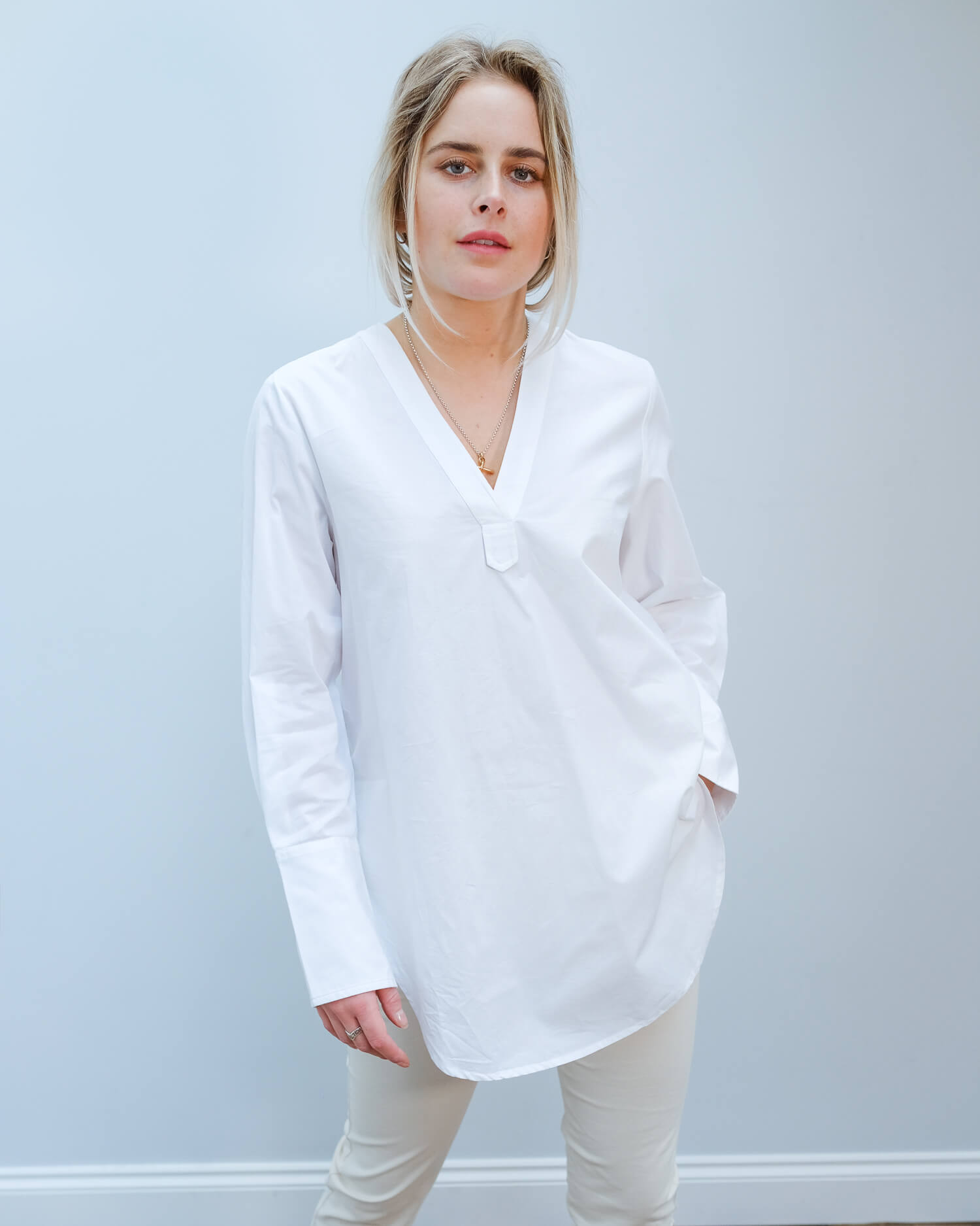 SLF Sandra long top in white