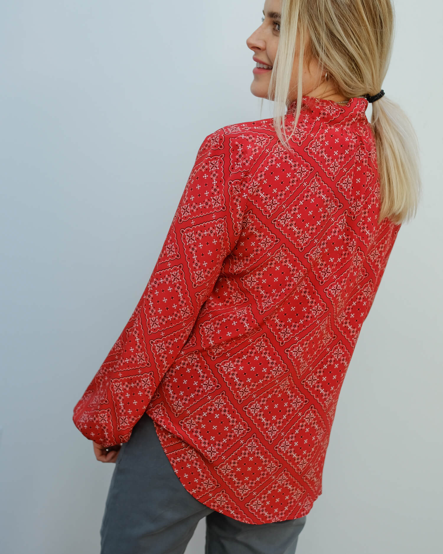 RIXO Moss in scarf floral red