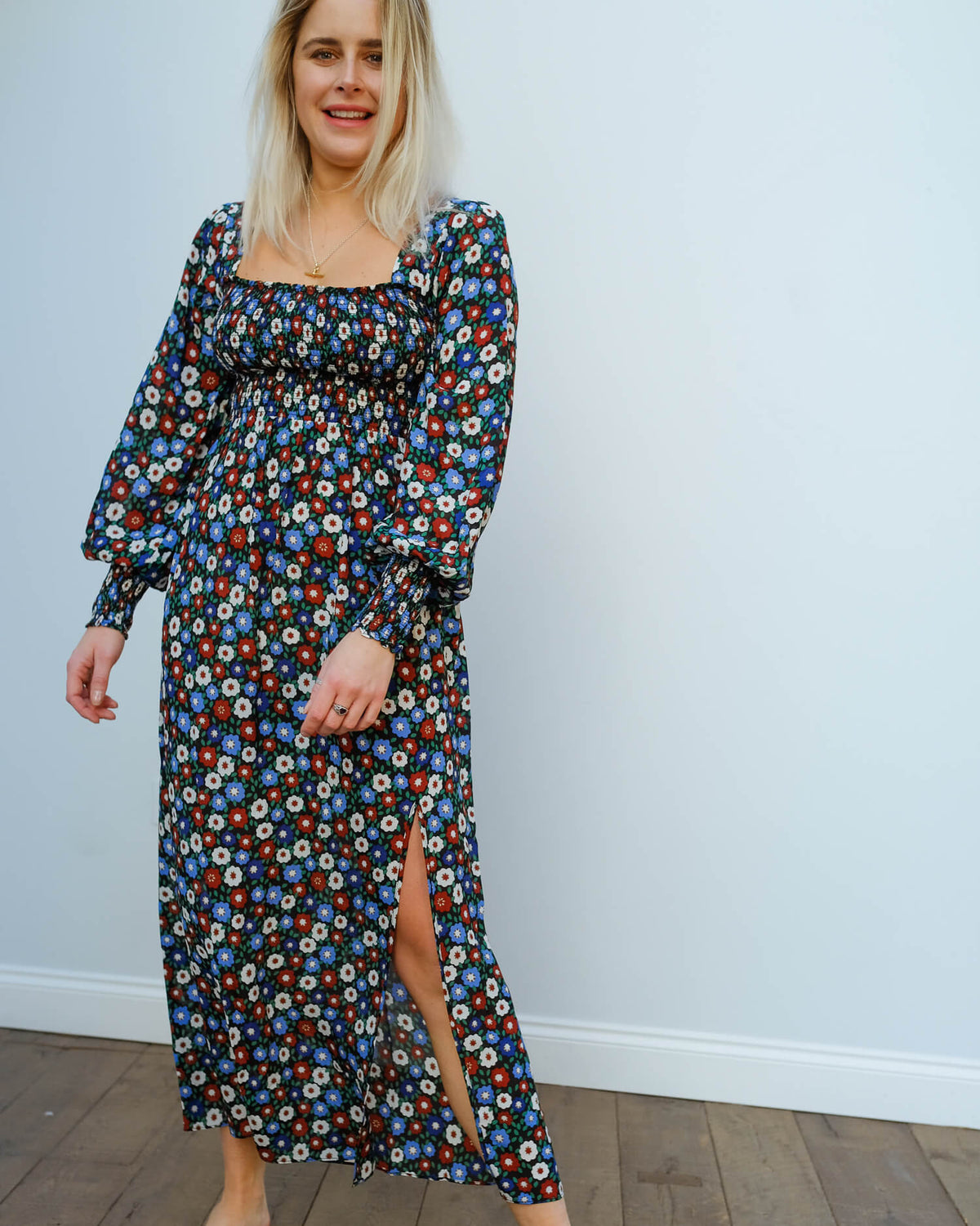 RIXO Marie dress in micro floral blue green red
