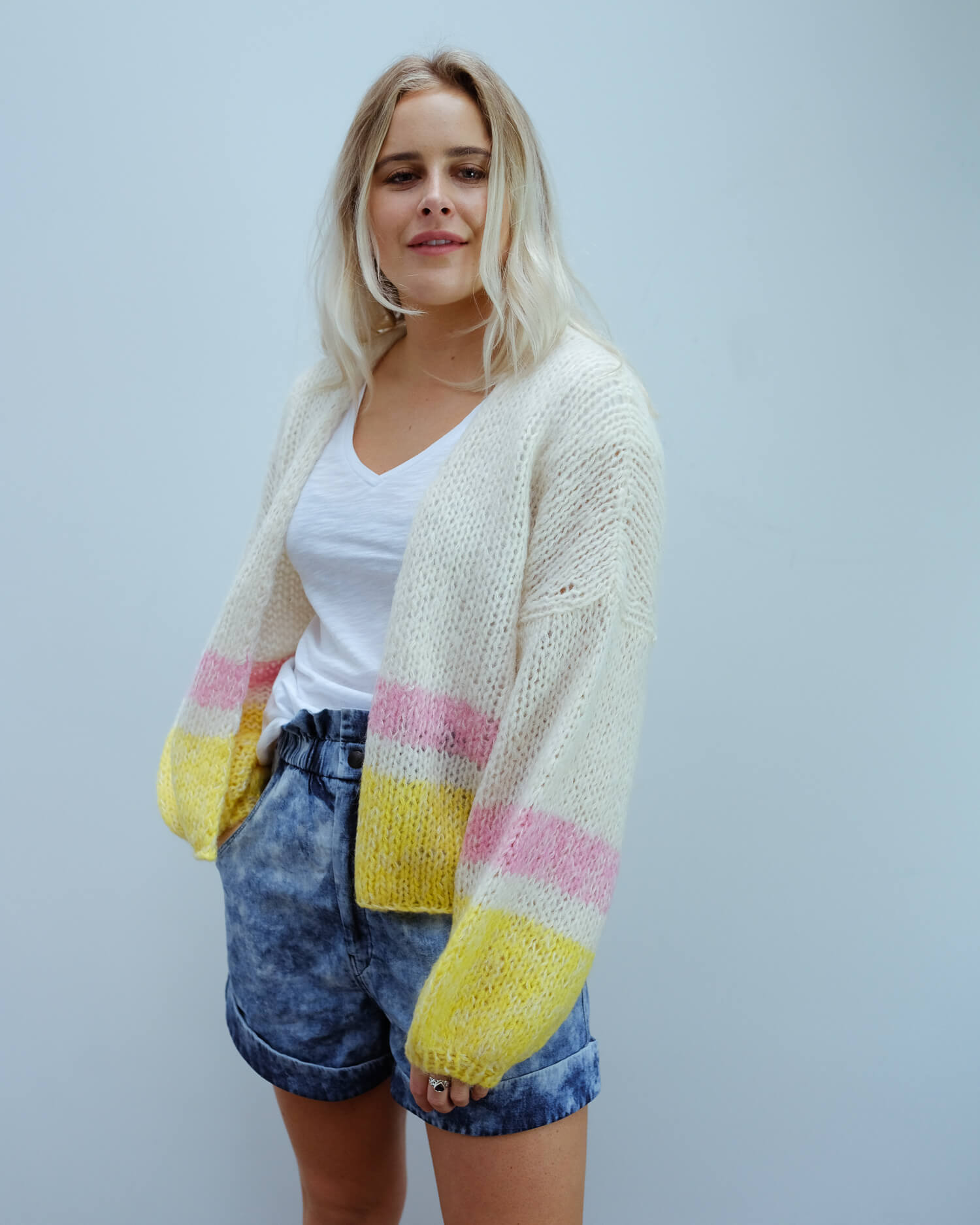 SLF Mellow cardi in yellow stripe
