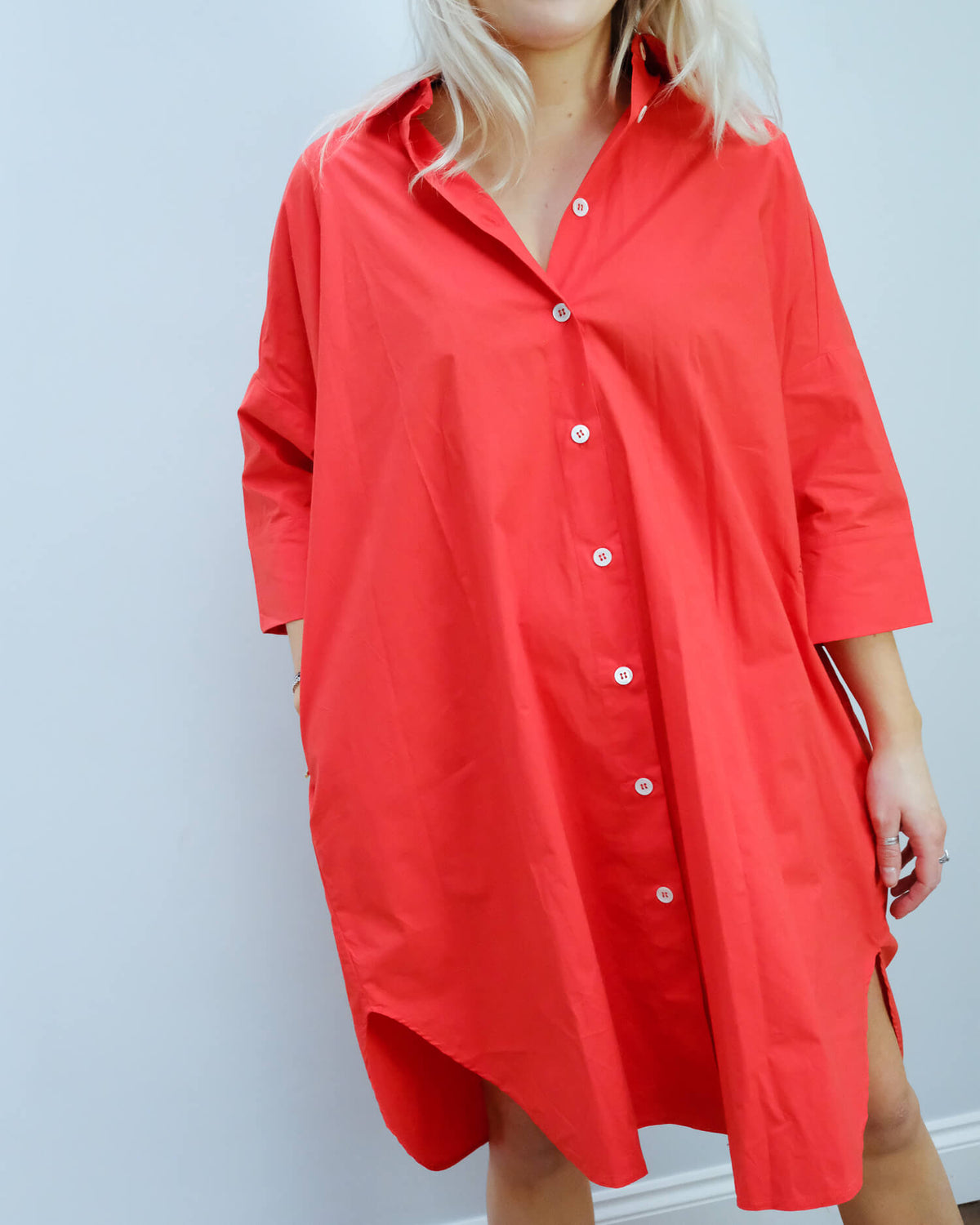 LOR Milo poplin dress in red