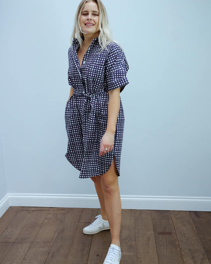LOR Ni checked dress in navy