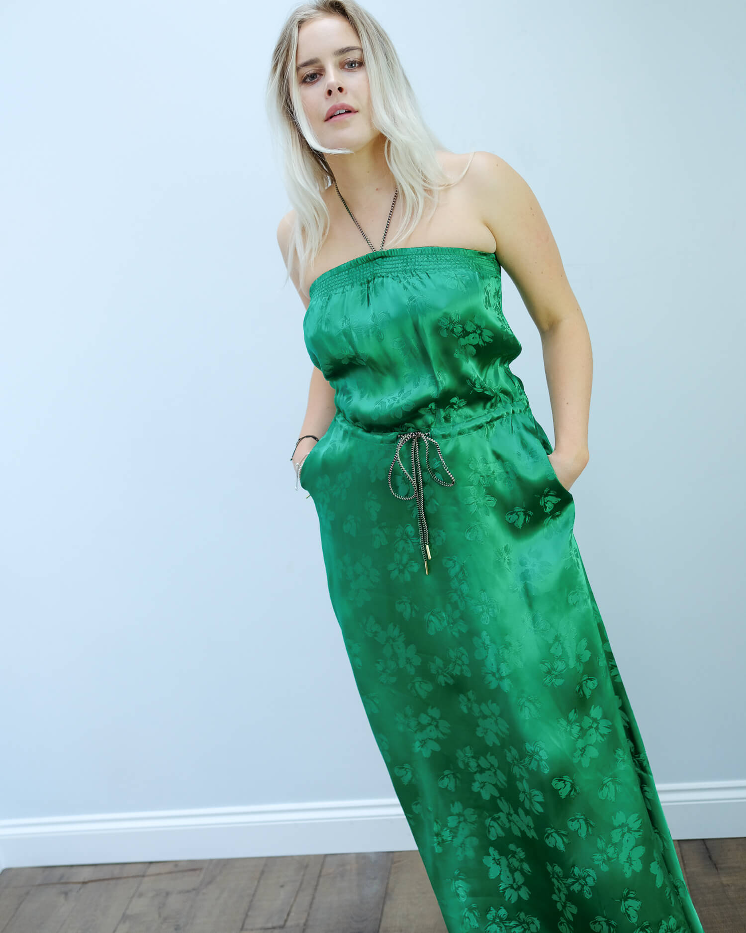 EA Vather strapless dress in green