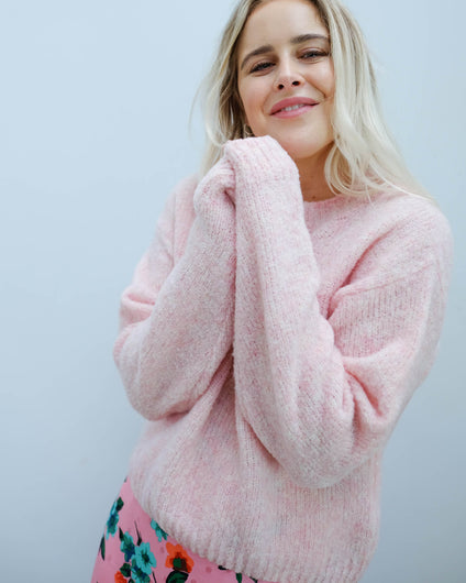 AV FOG270 LS knit in wild rose melange