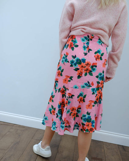 EA Varno asymmetric skirt in firenze fraise