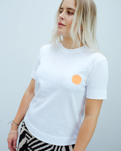 LOR Heavy slub tee in white with fluro