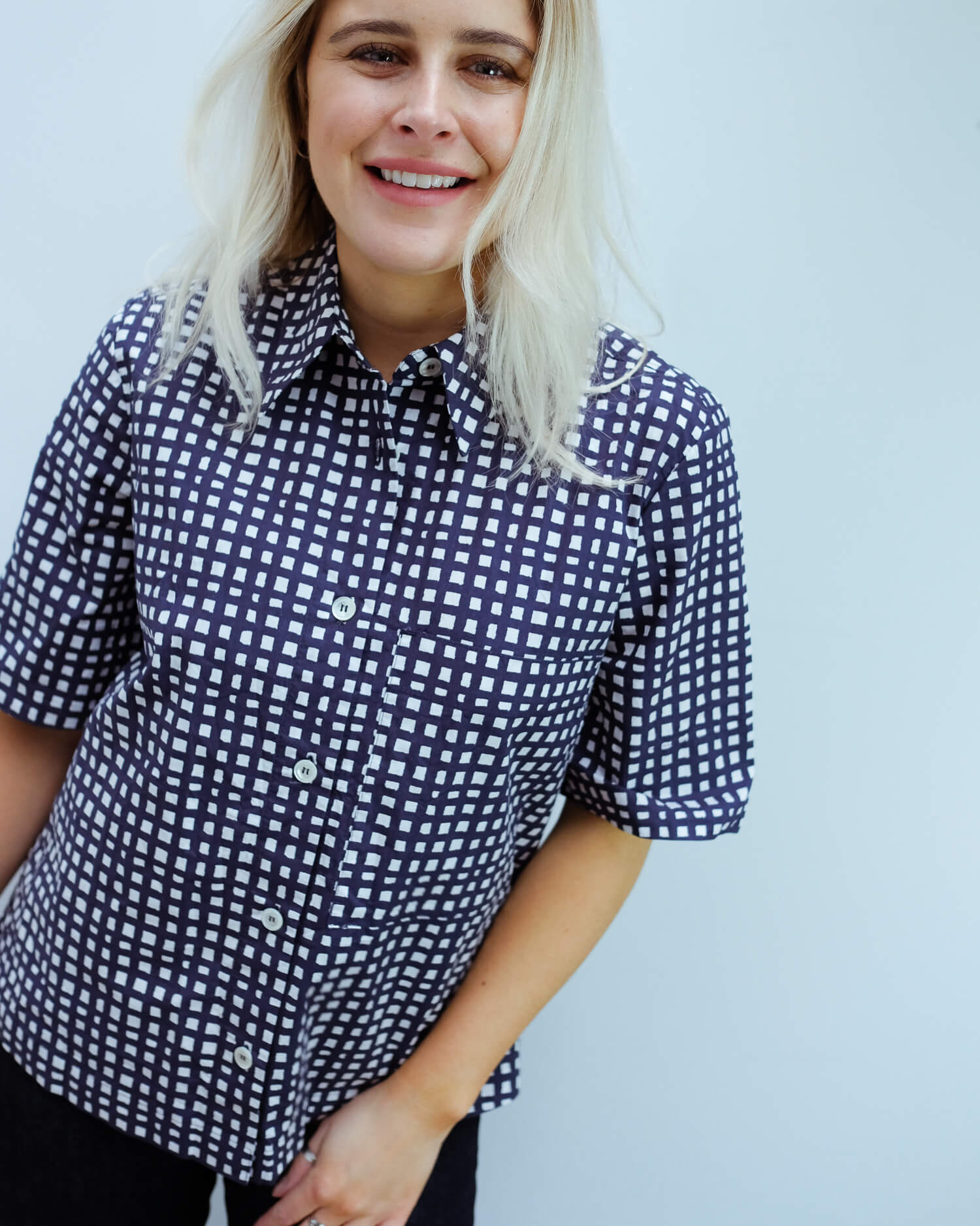 LOR Wide checked shirt in navy