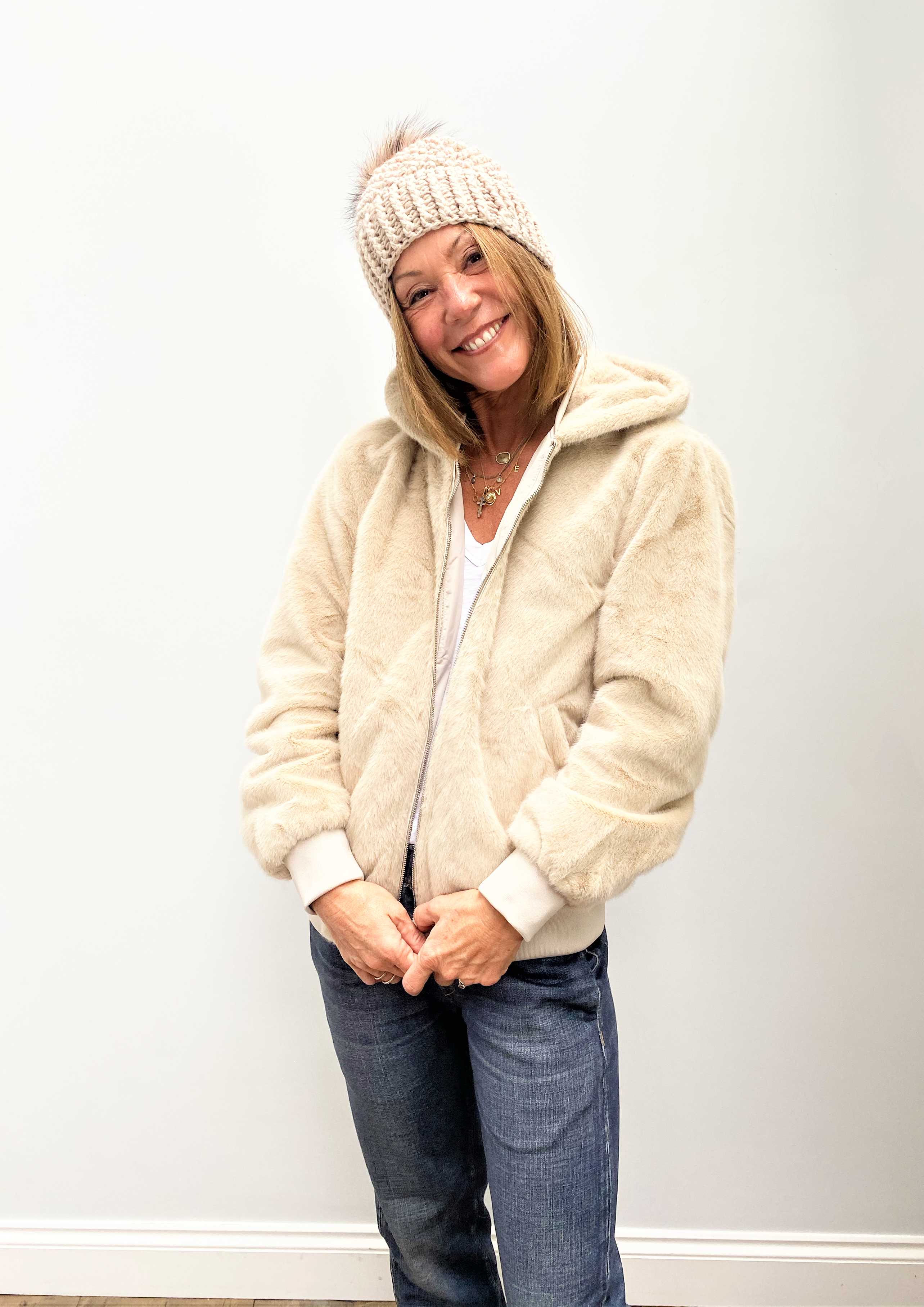 R&P Ladia Reversible Hooded Faux Fur Jacket in Silver Grey