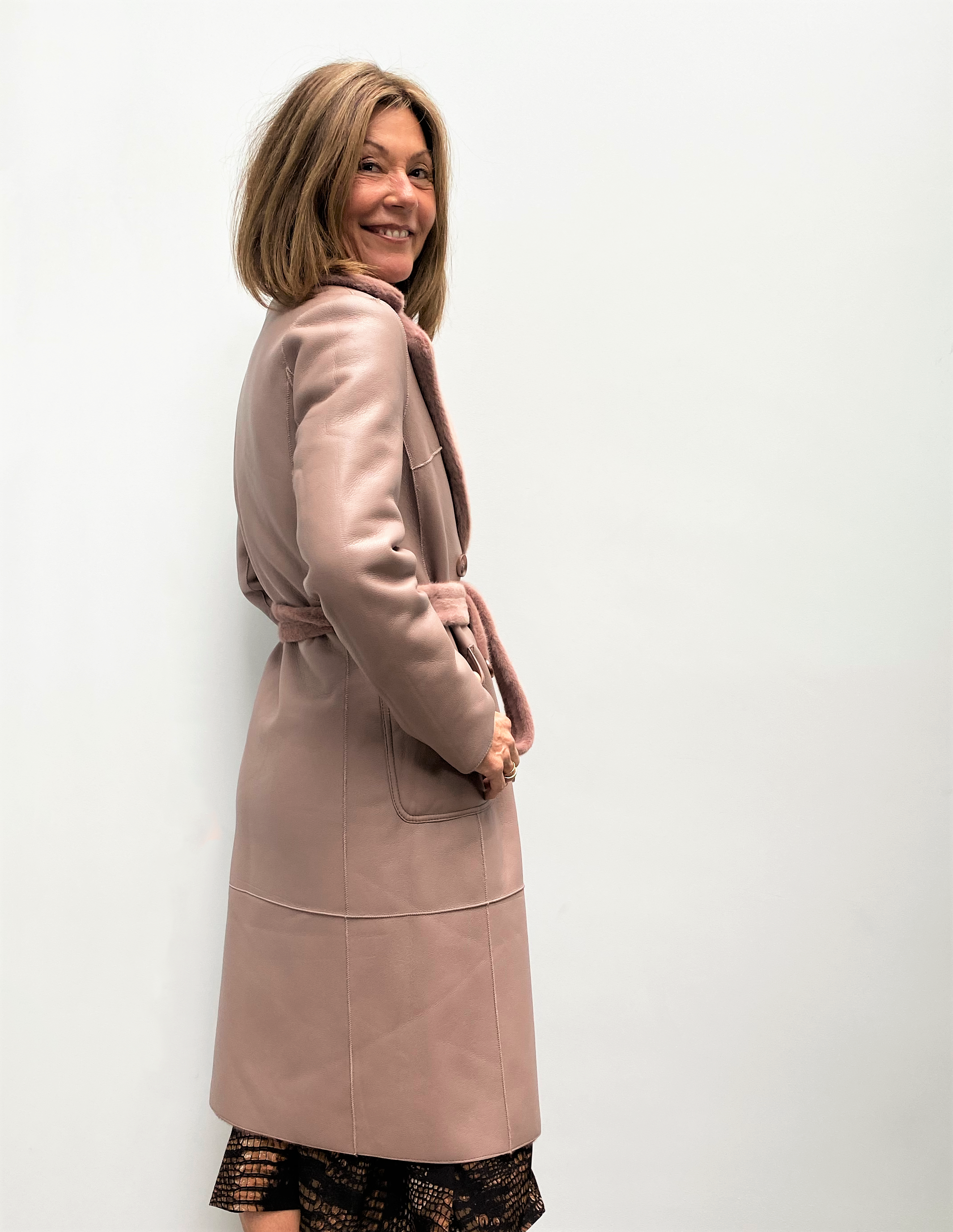 R&P Pita reversible long coat in misty rose