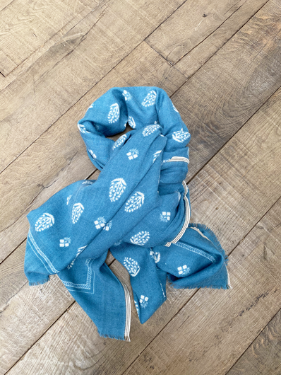 MOISMONT Stamp Print Scarf in Dutch Blue
