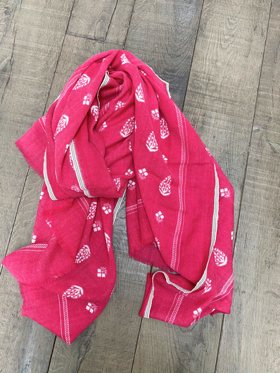 MOISMONT Stamp Print Scarf in Hot Pink
