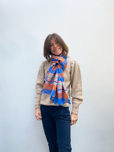 ANNA Himalaya Scarf in Orange, Blue Check