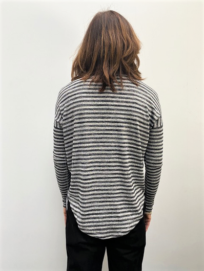 R&B The Knit Striped in Heather Grey