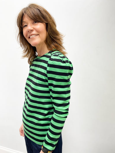 GANNI T2776 Striped Cotton Jersey in Kelly Green