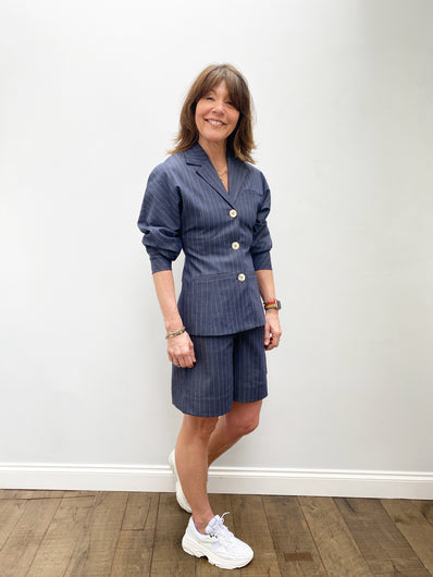 GANNI F5743 Stripe Jacket in Dress Blues