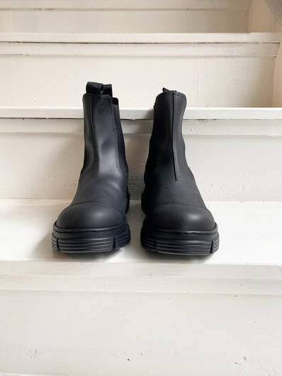 GANNI S1526 Recycled Rubber Boots in Black