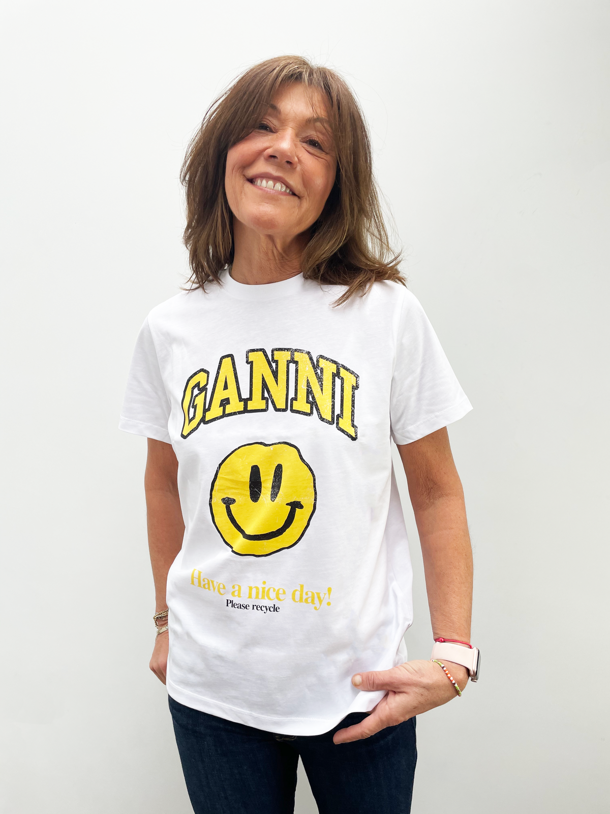 GANNI T2731 Basic Cotton Logo Tee in White