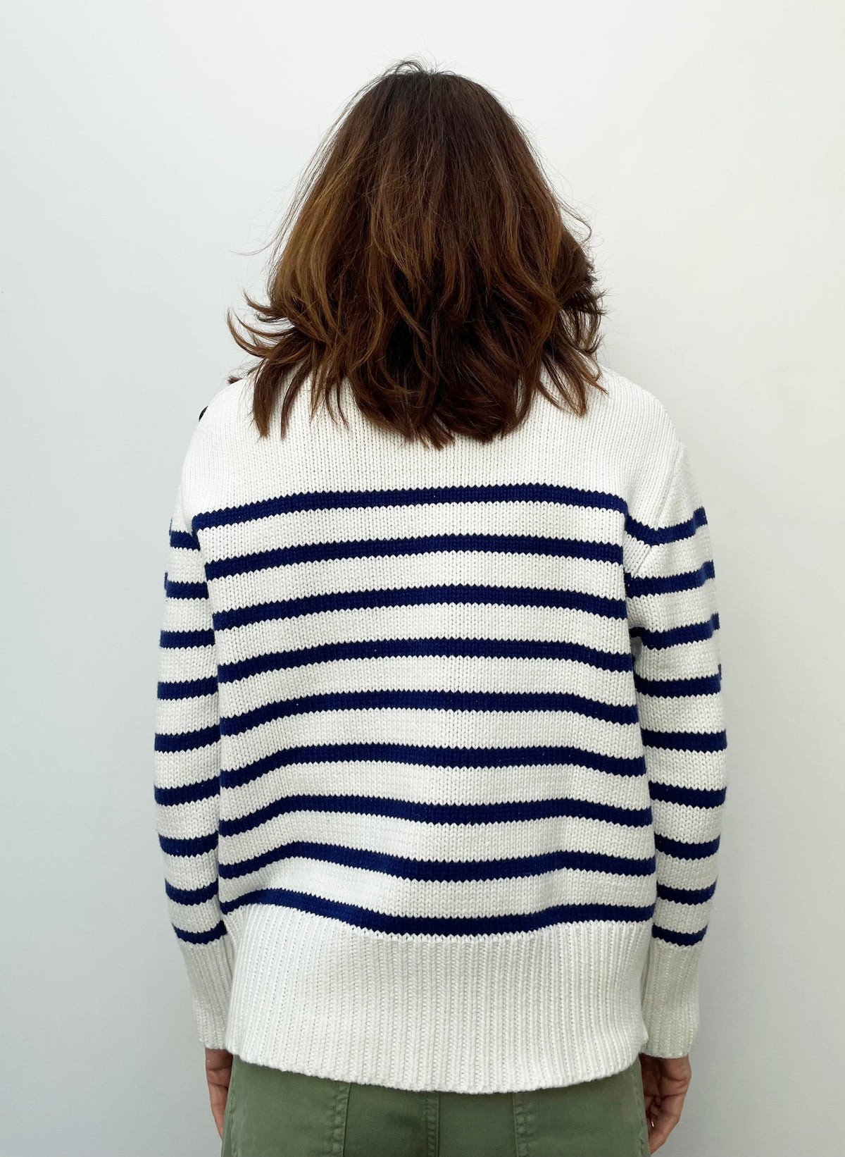 FIVE POE2111 Striped Top in Navy