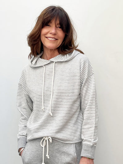 360 Rylan Striped Hoodie in Mist, Chalk
