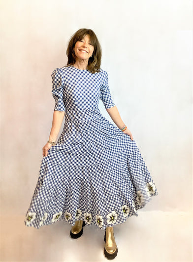 RIXO Kristen Maxi Dress in Navy Gingham