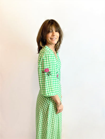RIXO Bronte Midi Dress in Big Gingham Green