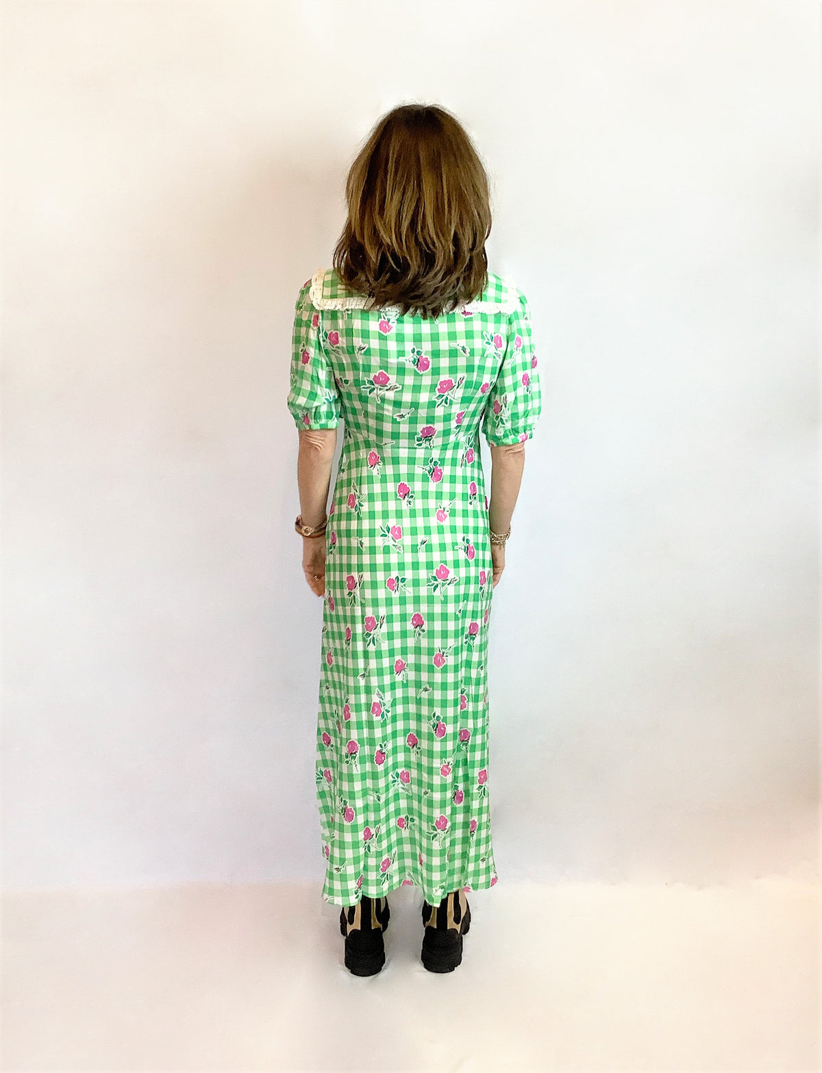 RIXO Gwen Midi Dress in Gingham Rose Green