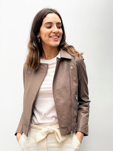 SLF Katie Leather Jacket in Fossil