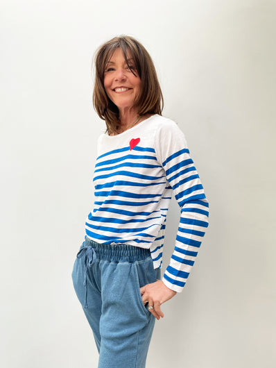 FIVE TSE2155 Striped Top in French Blue