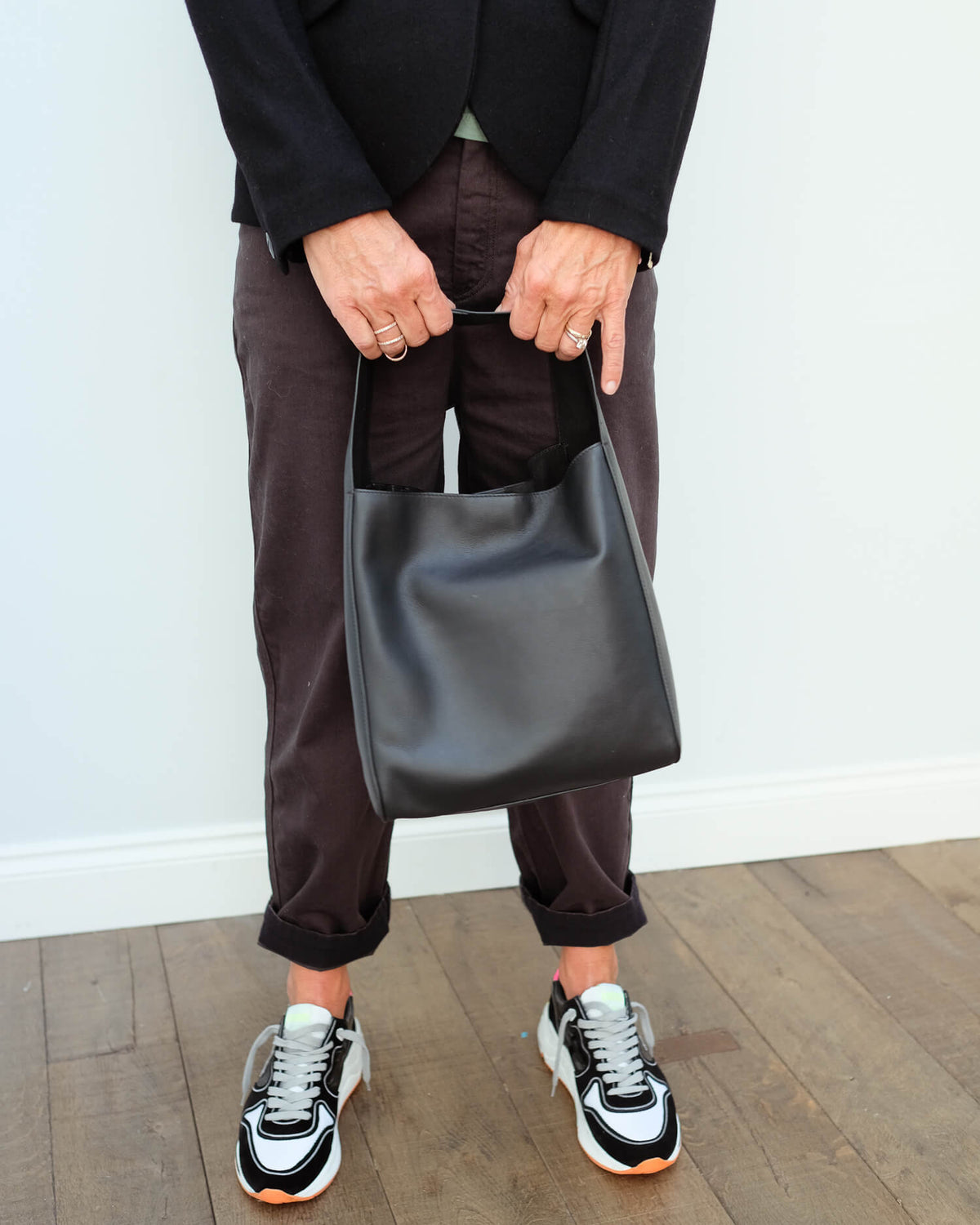 JOSEPH slouch leather bag in black