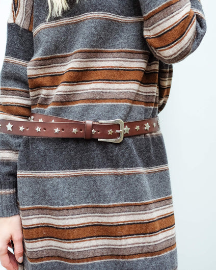 SW Star leather belt in dark brown