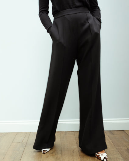 JOSEPH Tawn Matt Georgette Trousers in Black
