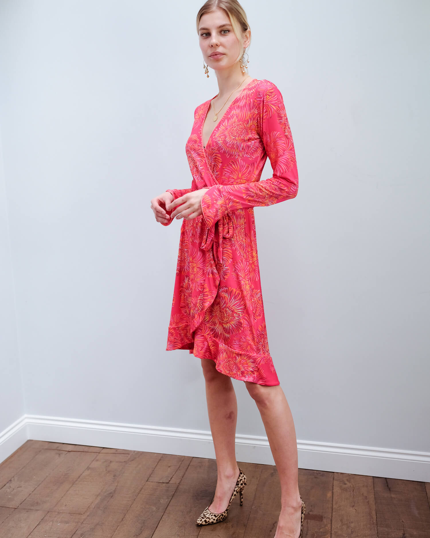 HB 6788 LS faux wrap dress in berry