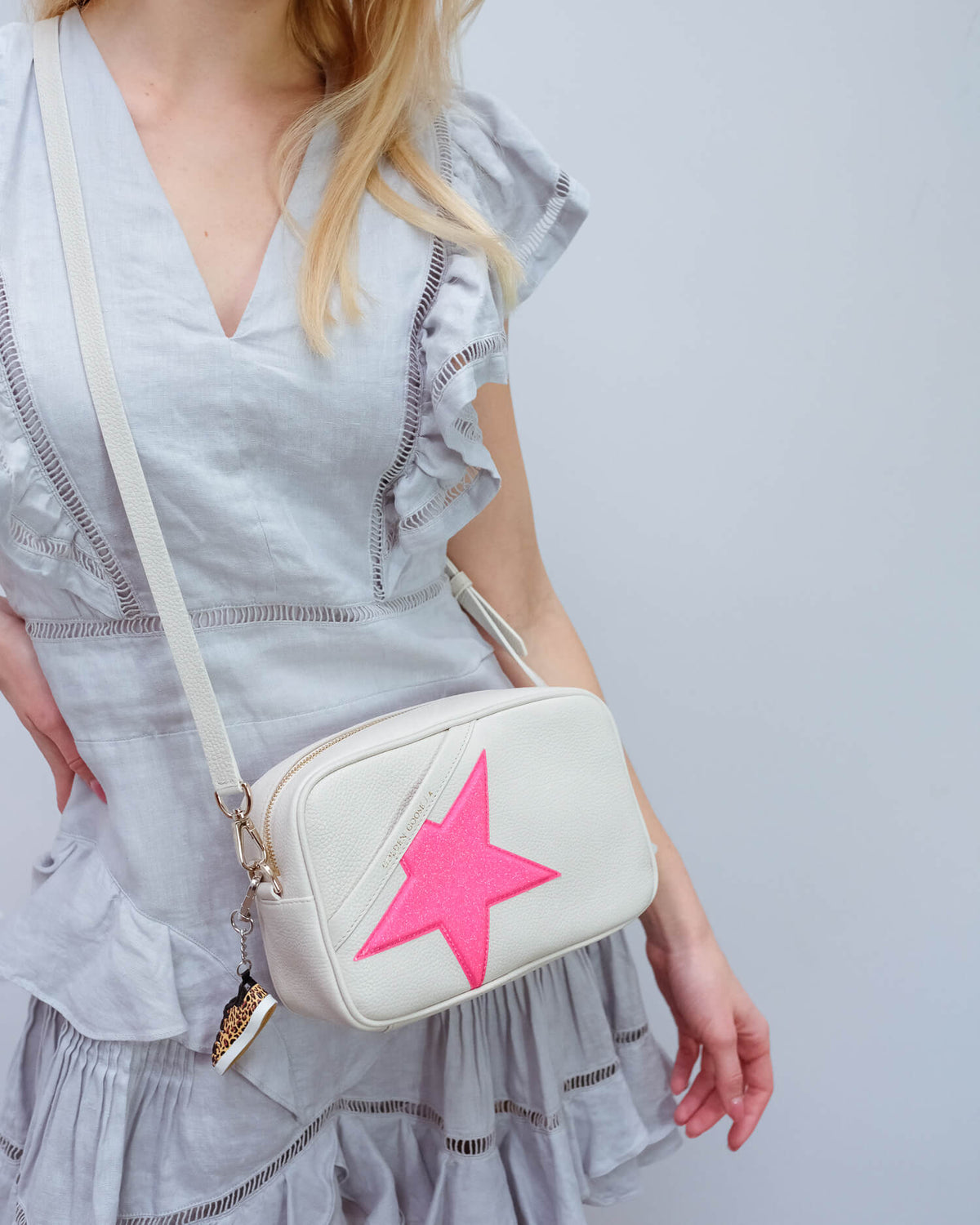 GG Star bag white with pink