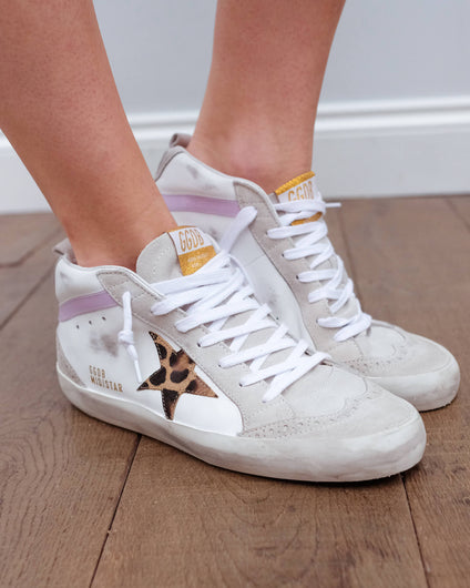 GG Mid star 634 in white with leopard