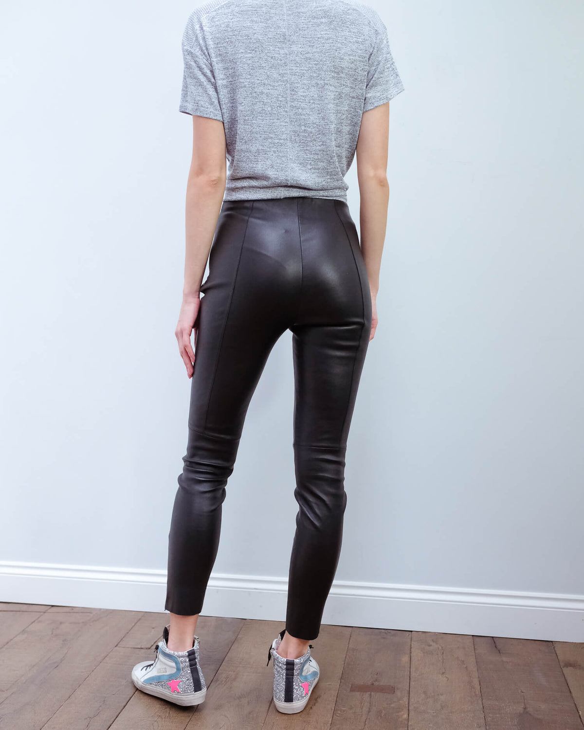 MM Arcadia leather trouser in black