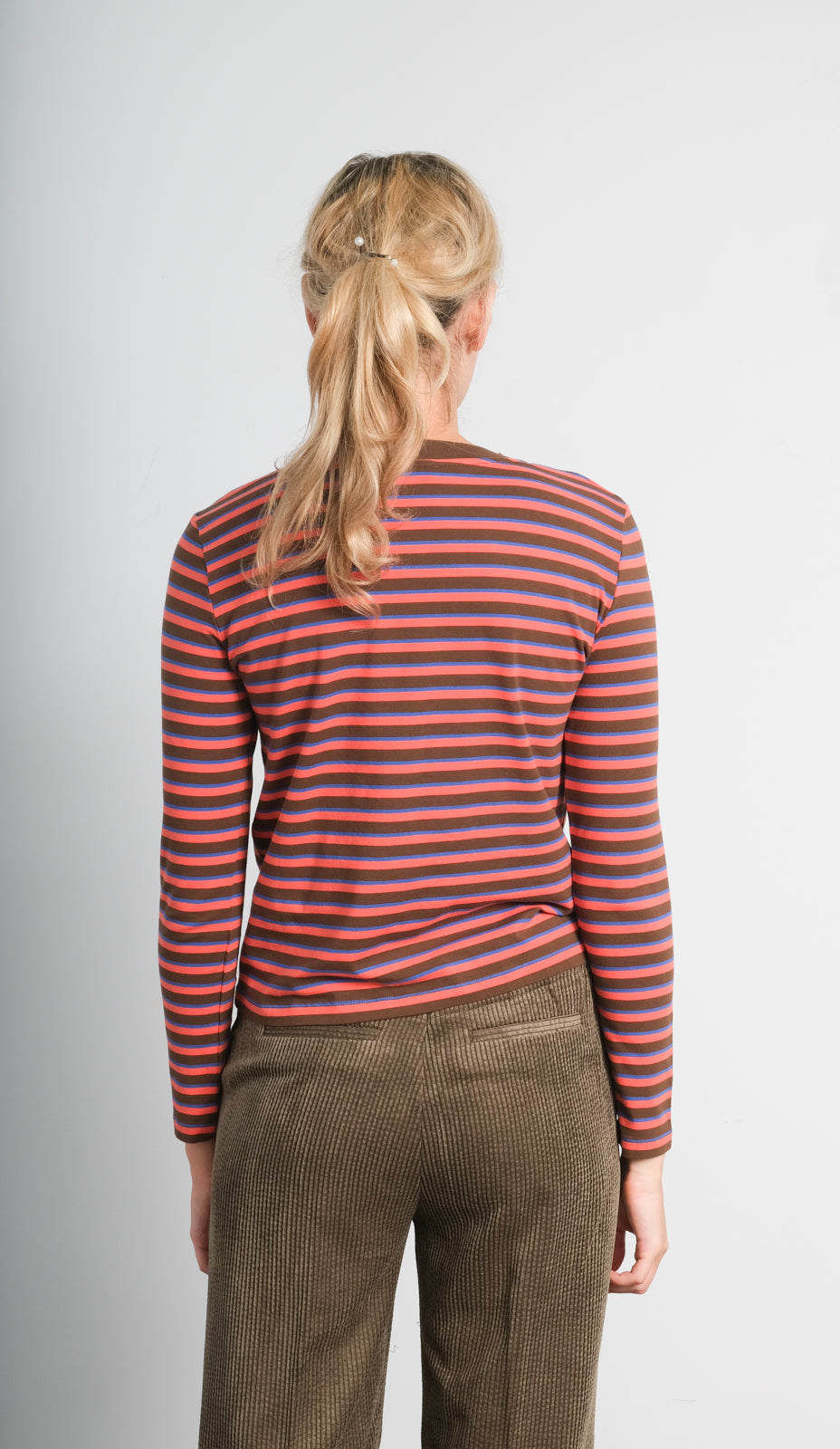LOR Luxe stripe top in toffee