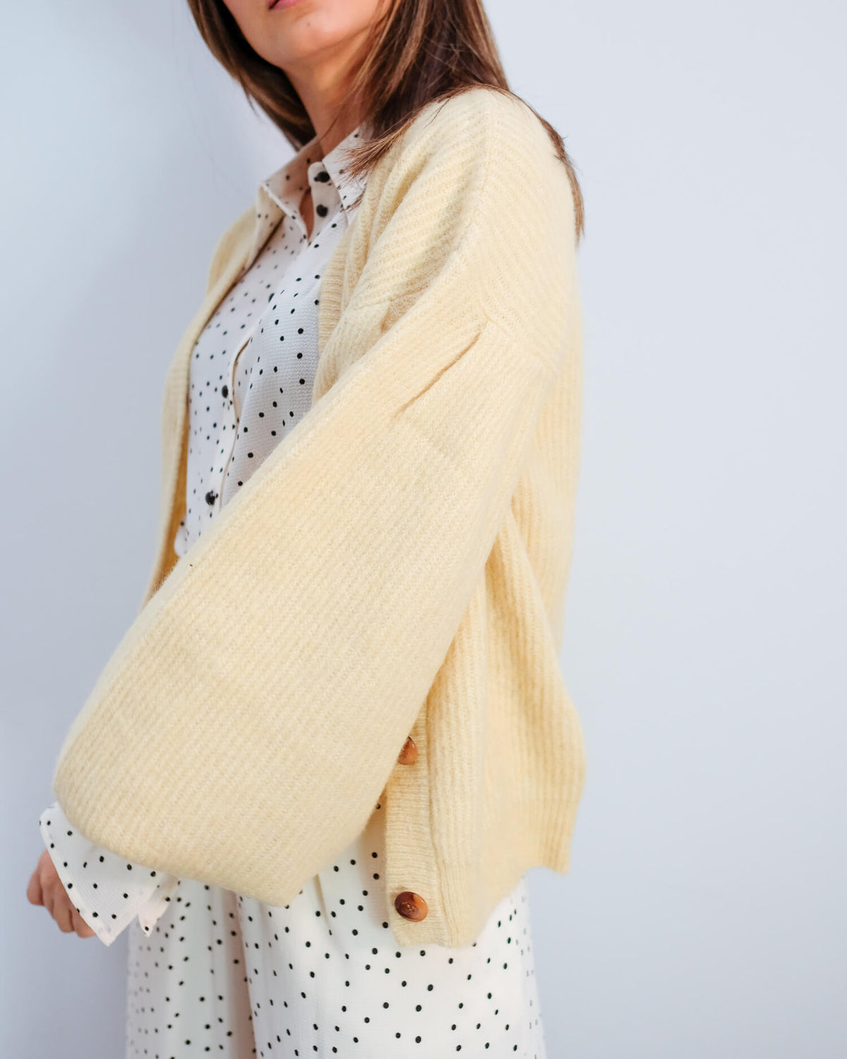 BUP Celine knit cardi in straw yellow