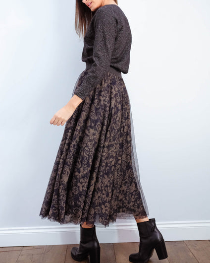 EA Vroomvroom printed tuelle skirt