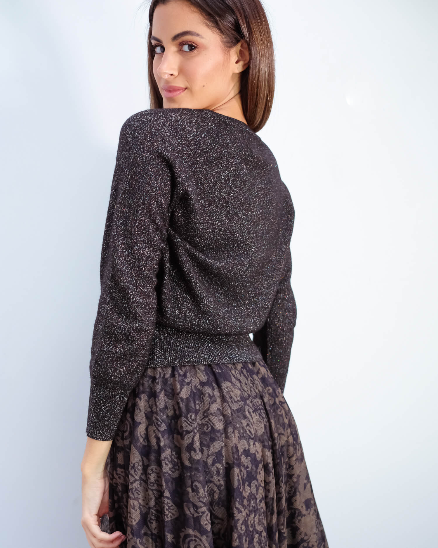 JU Lurex cardigan in black