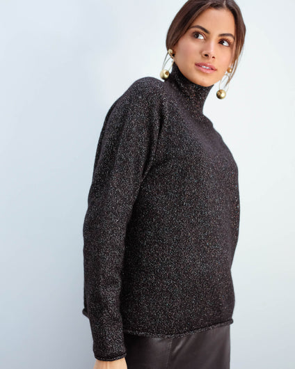 JU Lurex winter sweat in black